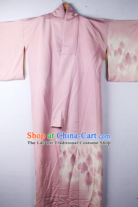 Asian Japanese Ceremony Clothing Classical Pattern Pink Kimono Traditional Japan National Yukata Costume for Men