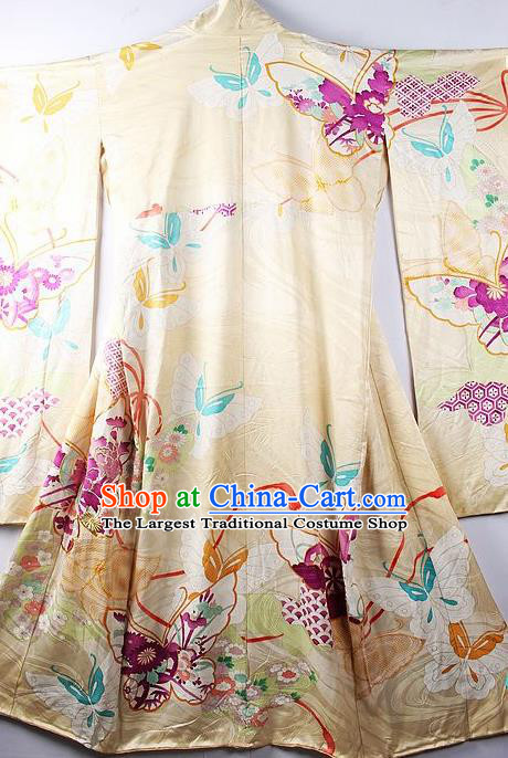 Asian Japanese Printing Butterfly Yellow Iromuji Furisode Kimono Ceremony Costume Traditional Japan Yukata Dress for Women