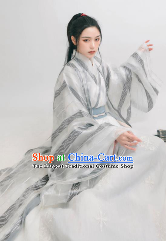 Chinese Ancient Jin Dynasty Swordswoman Hanfu Clothing Traditional Female Knight Replica Costume for Women