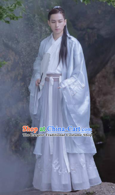 Chinese Ancient Jin Dynasty Prince Hanfu Clothing Traditional Swordsman Nobility Childe Replica Costume for Men