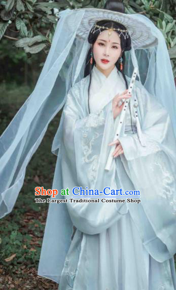 Ancient Chinese Jin Dynasty Imperial Consort Hanfu Dress Traditional Swordswoman Replica Costume for Women