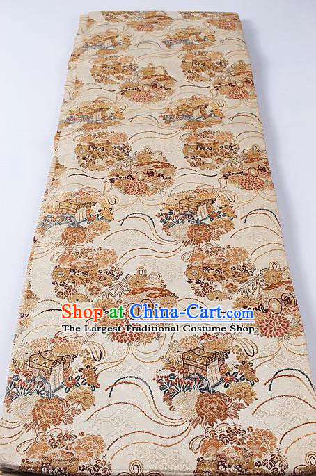 Japanese Classical Chrysanthemum Pattern Beige Brocade Waistband Kimono Accessories Asian Traditional Yukata Belt for Women