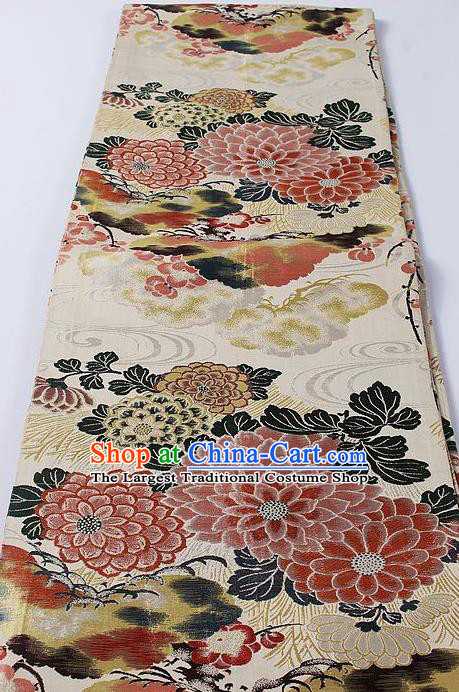 Japanese Classical Chrysanthemum Pattern Beige Waistband Kimono Accessories Asian Traditional Yukata Brocade Belt for Women