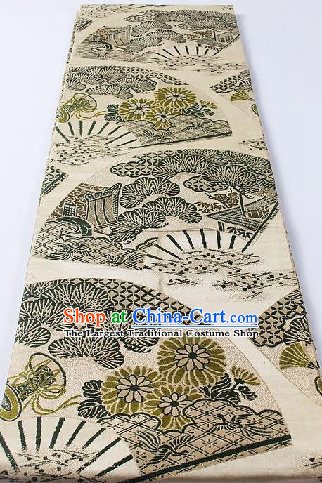 Japanese Classical Pine Chrysanthemum Pattern Beige Waistband Kimono Accessories Asian Traditional Yukata Brocade Belt for Women