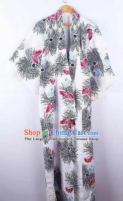 Asian Japanese Ceremony Printing Butterfly Chrysanthemum White Kimono Dress Traditional Japan Yukata Costume for Women