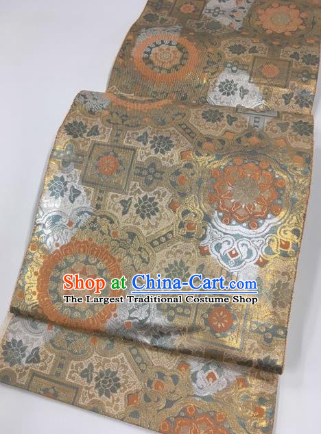 Japanese Traditional Classical Lucky Pattern Khaki Waistband Kimono Brocade Accessories Asian Japan Yukata Belt for Women