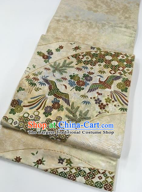Japanese Traditional Classical Phoenix Pattern Beige Kimono Brocade Accessories Asian Japan Yukata Belt for Women