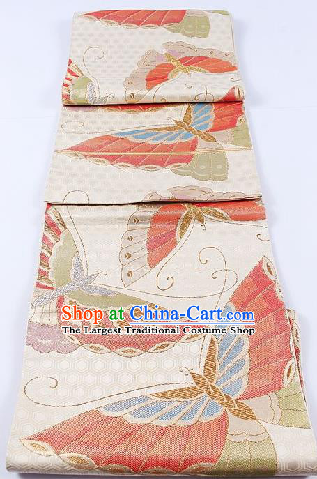 Japanese Traditional Classical Butterfly Pattern Beige Kimono Brocade Accessories Asian Japan Yukata Belt for Women