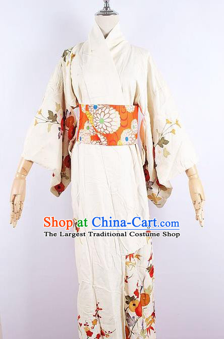 Asian Japanese Ceremony Printing Chrysanthemum Beige Kimono Dress Traditional Japan Yukata Costume for Women