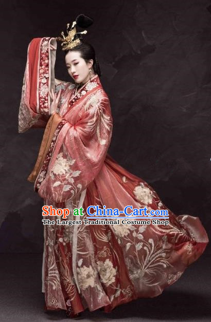 Traditional Chinese Han Dynasty Imperial Consort Hanfu Dress Ancient Court Empress Embroidered Replica Costumes for Women