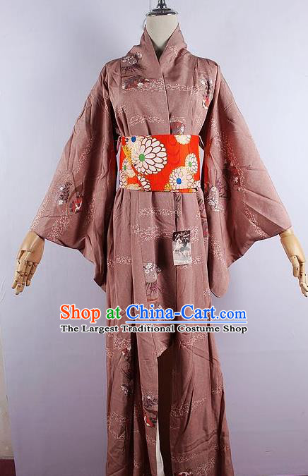 Japanese Ceremony Costume Printing Brown Silk Kimono Dress Traditional Asian Japan Yukata for Women