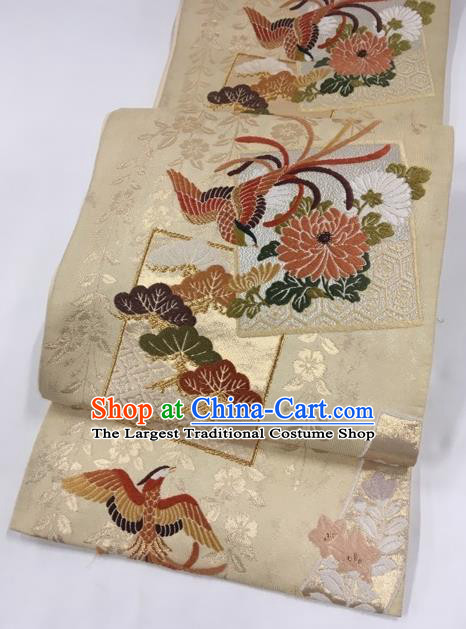 Japanese Classical Phoenix Chrysanthemum Pattern Beige Nishijin Waistband Traditional Kimono Brocade Accessories Yukata Belt for Women