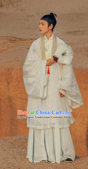Traditional Chinese Jin Dynasty Scholar Recluse Embroidered Hanfu Clothing Ancient Childe Replica Costumes for Men