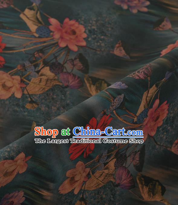 Chinese Classical Lotus Pattern Design Blue Gambiered Guangdong Gauze Traditional Asian Brocade Silk Fabric