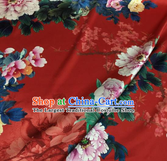 Asian Chinese Classical Magnolia Peony Pattern Red Brocade Satin Drapery Traditional Cheongsam Brocade Silk Fabric