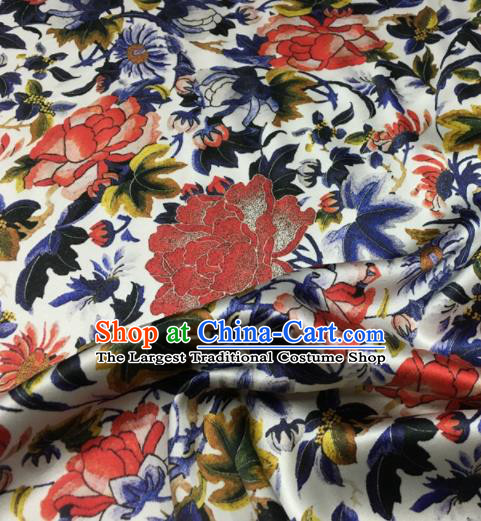 Asian Chinese Classical Peony Pattern White Brocade Satin Drapery Traditional Cheongsam Brocade Silk Fabric