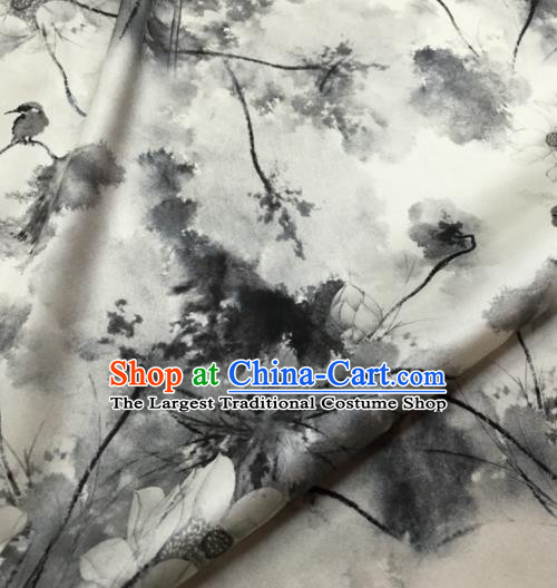 Asian Chinese Classical Ink Painting Lotus Pattern Brocade Satin Drapery Traditional Cheongsam Brocade Silk Fabric