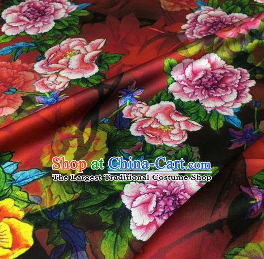 Asian Chinese Classical Peony Pattern Red Brocade Satin Drapery Traditional Cheongsam Brocade Silk Fabric