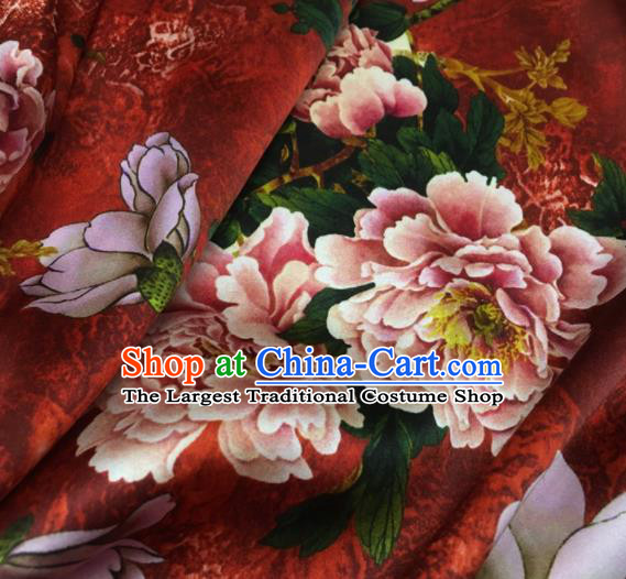 Asian Chinese Classical Peony Magnolia Pattern Red Brocade Satin Drapery Traditional Cheongsam Brocade Silk Fabric