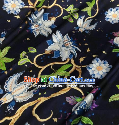 Asian Chinese Classical Pattern Navy Brocade Satin Drapery Traditional Cheongsam Brocade Silk Fabric