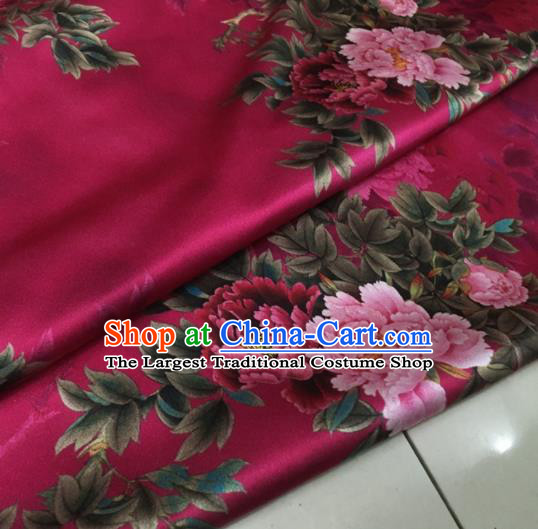 Asian Chinese Classical Peony Pattern Rosy Brocade Satin Drapery Traditional Cheongsam Brocade Silk Fabric