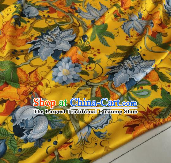 Asian Chinese Classical Pattern Yellow Brocade Satin Drapery Traditional Cheongsam Brocade Silk Fabric