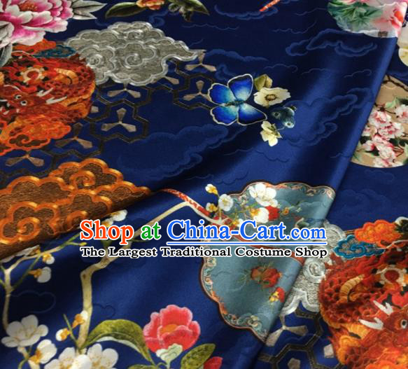 Asian Chinese Classical Dragon Peony Pattern Royalblue Brocade Satin Drapery Traditional Cheongsam Brocade Silk Fabric