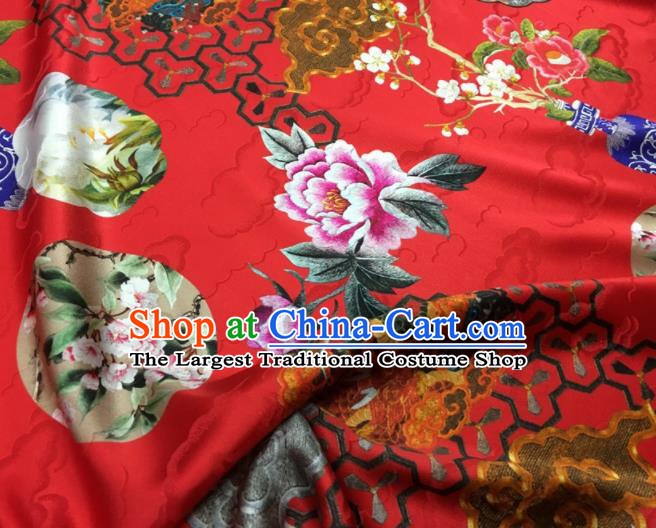 Asian Chinese Classical Dragon Peony Pattern Red Brocade Satin Drapery Traditional Cheongsam Brocade Silk Fabric