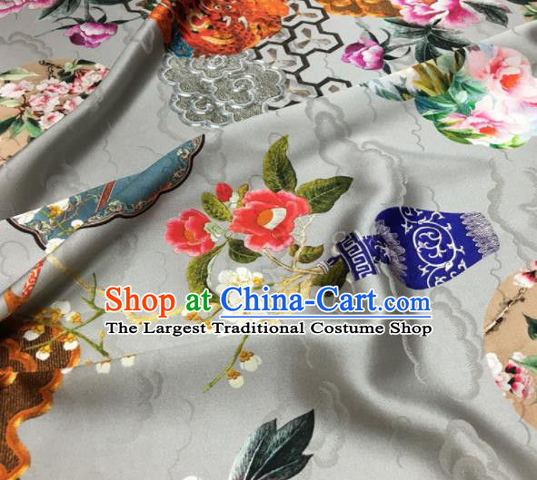Asian Chinese Classical Dragon Peony Pattern White Brocade Satin Drapery Traditional Cheongsam Brocade Silk Fabric