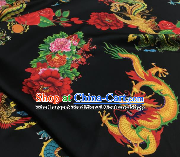 Asian Chinese Classical Dragon Peony Pattern Black Brocade Satin Drapery Traditional Cheongsam Brocade Silk Fabric