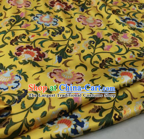 Asian Chinese Classical Cirrus Flowers Pattern Yellow Brocade Satin Drapery Traditional Cheongsam Brocade Silk Fabric