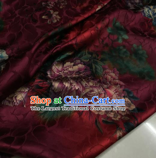 Asian Chinese Classical Peony Pattern Wine Red Brocade Satin Drapery Traditional Cheongsam Brocade Silk Fabric