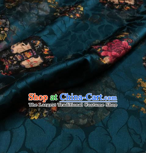 Asian Chinese Classical Peony Pattern Peacock Green Brocade Satin Drapery Traditional Cheongsam Brocade Silk Fabric