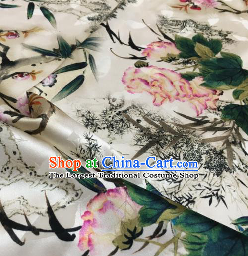 Asian Chinese Classical Peony Bamboo Pattern White Brocade Satin Drapery Traditional Cheongsam Brocade Silk Fabric