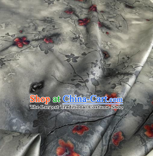 Asian Chinese Classical Plum Pattern Grey Brocade Satin Drapery Traditional Cheongsam Brocade Silk Fabric