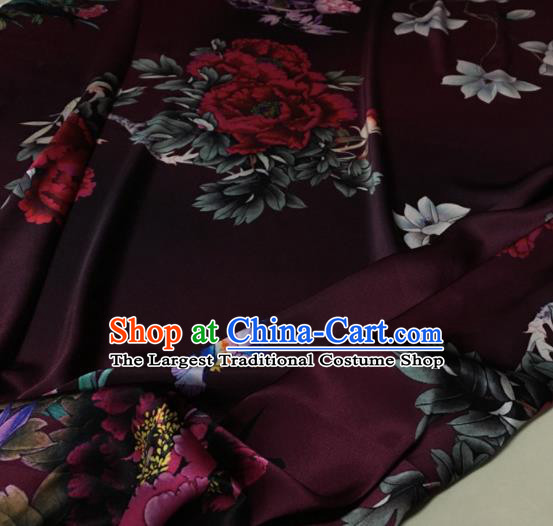 Asian Chinese Classical Peony Pattern Deep Purple Brocade Satin Drapery Traditional Cheongsam Brocade Silk Fabric