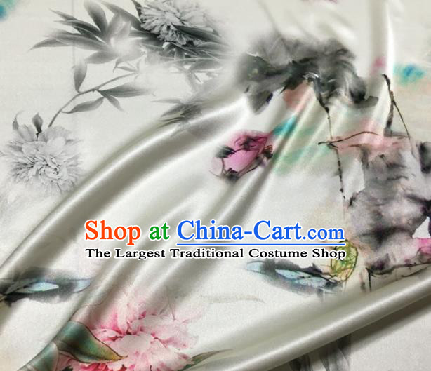 Asian Chinese Classical Ink Painting Peony Pattern White Brocade Satin Drapery Traditional Cheongsam Brocade Silk Fabric