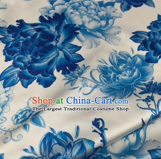Asian Chinese Classical Blue Peony Pattern White Brocade Satin Drapery Traditional Cheongsam Brocade Silk Fabric