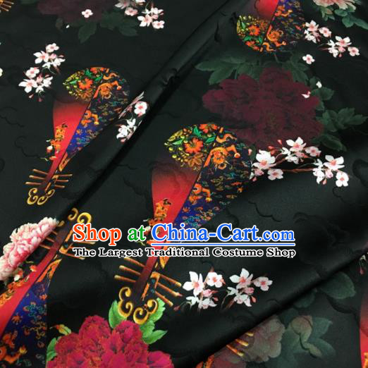 Asian Chinese Classical Lute Peony Pattern Black Brocade Satin Drapery Traditional Cheongsam Brocade Silk Fabric