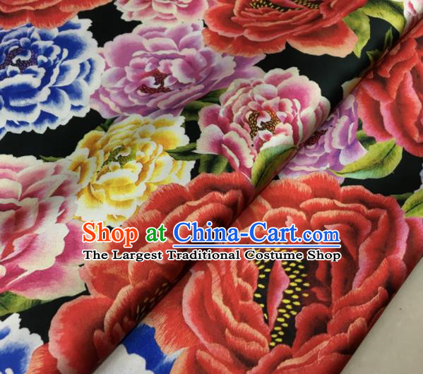 Asian Chinese Classical Peony Pattern Black Brocade Satin Drapery Traditional Cheongsam Brocade Silk Fabric