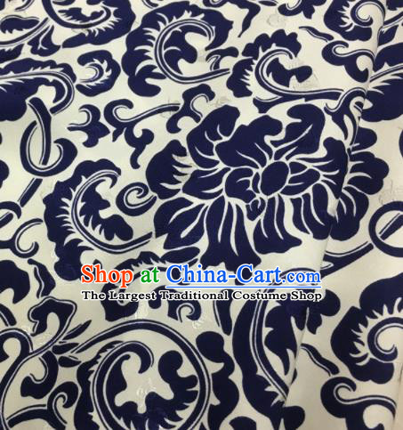 Asian Chinese Classical Royalblue Peony Pattern Brocade Satin Drapery Traditional Cheongsam Brocade Silk Fabric