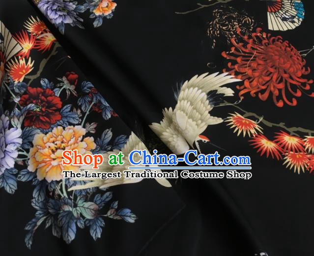 Asian Chinese Classical Chrysanthemum Crane Peony Pattern Black Brocade Satin Drapery Traditional Cheongsam Brocade Silk Fabric