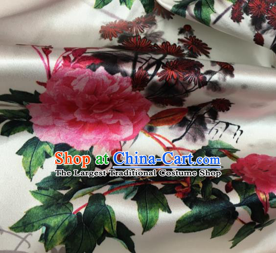 Asian Chinese Classical Chrysanthemum Peony Pattern White Brocade Satin Drapery Traditional Cheongsam Brocade Silk Fabric