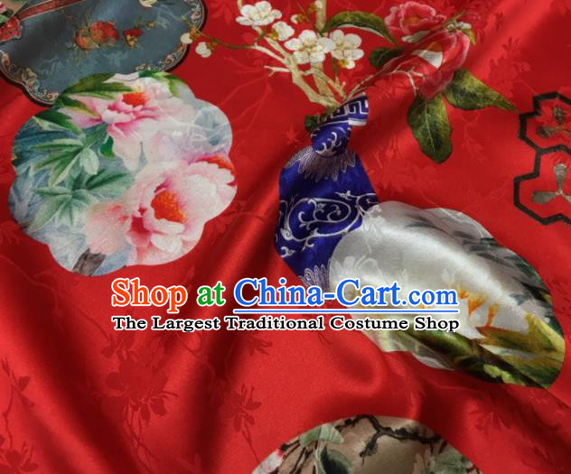 Asian Chinese Classical Peony Vase Pattern Red Brocade Satin Drapery Traditional Cheongsam Brocade Silk Fabric