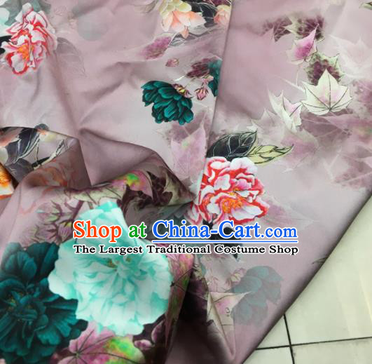 Asian Chinese Classical Peony Pattern Lilac Brocade Satin Drapery Traditional Cheongsam Brocade Silk Fabric