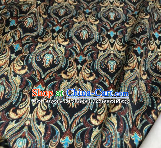 Asian Chinese Classical Pattern Black Brocade Satin Drapery Traditional Cheongsam Brocade Silk Fabric