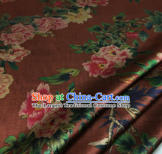 Asian Chinese Classical Peony Pattern Brown Brocade Satin Drapery Traditional Cheongsam Brocade Silk Fabric