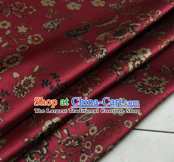 Asian Chinese Classical Flowers Pattern Wine Red Brocade Satin Drapery Traditional Cheongsam Brocade Silk Fabric