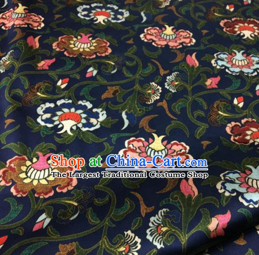Asian Chinese Classical Totem Pattern Navy Brocade Satin Drapery Traditional Cheongsam Brocade Silk Fabric