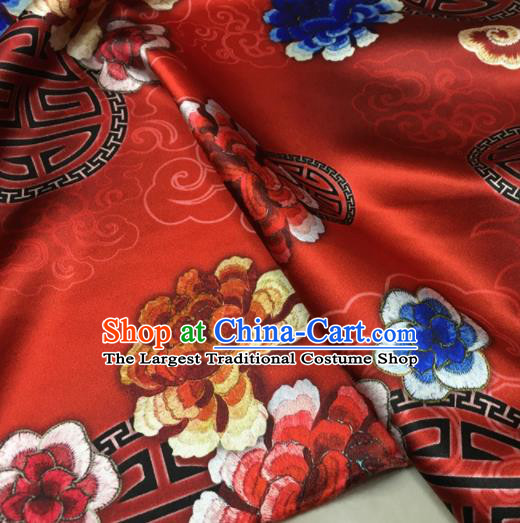 Asian Chinese Classical Cloud Peony Pattern Red Brocade Satin Drapery Traditional Cheongsam Brocade Silk Fabric